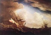English ships beating to windward in a gale Monamy, Peter