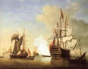 Stern view of the Royal William firing a salute Monamy, Peter