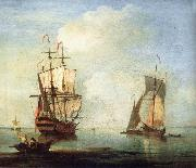 A clam scene,with two small drying sails Monamy, Peter