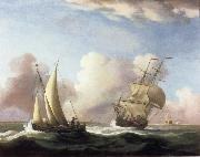 A Small Sailing boat and a merchantman at sea in a rising Wind Monamy, Peter
