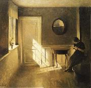 Interior with Girl Reading Peter ilsted