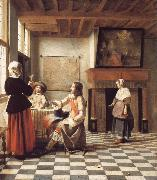 An Interior,with a Woman Drinking with Two Men,and a Maidservant Pieter de Hooch