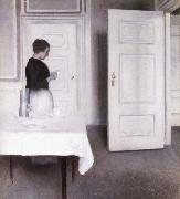 Interior with Woman Reading a Letter,Strandgade 30,1899 Vilhelm Hammershoi