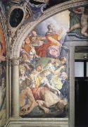 Mose strikes water out of the rock fresco in the chapel of the Eleonora of Toledo Agnolo Bronzino