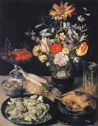Style life table with flowers, Essuaren and Studenglas Georg Flegel
