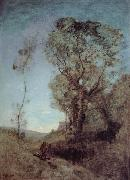 The Italian vill behind pines Corot Camille