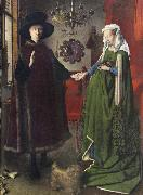 The Italian kopmannen Arnolfini and his youngest wife some nygifta in home in Brugge Jan Van Eyck