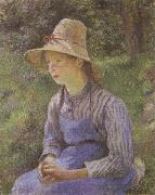 Young Peasant Girl Wearing a Hat Camille Pissarro