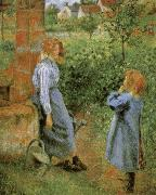 Woman and Child at a Well Camille Pissarro