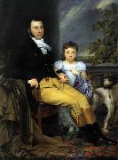 Portrait of a Prominent Gentleman with his Daughter and Hunting Dog Joseph Denis Odevaere