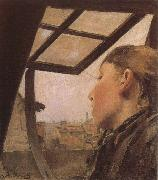 Girl looking out of a Skylight Laurits Andersen Ring