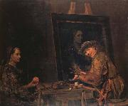 Self-Portrait Painting an Old Woman Arent De Gelder
