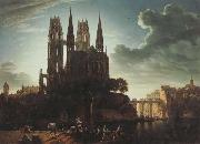Gothic Cathedral by the Waterside (mk45) Karl friedrich schinkel