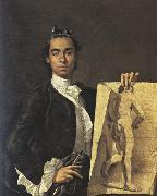 Self-Portrait with a Drawing of a Male Nude Luis Melendez