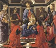Madonna enthroned with Child and Saints (Mary Magdalene,John the Baptist,Cosmas and Damien,Sts Francis and Catherine of Alexandria) Botticelli
