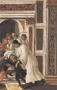 Stories of St Zanobius Last Miracle:dead child revived by the Deacons Eugenius and Crescentius Botticelli