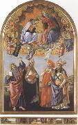 Coronation of the Virgin,with Sts john the Evangelist,Augustine,Jerome and Eligius or San Marco Altarpiece Sandro Botticelli