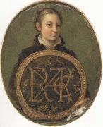 Self-Portrait Holding a Medallion with the Letters of her Father s Name, Sofonisba Anguissola
