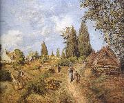 Walking in the countryside on the road loggers Camille Pissarro