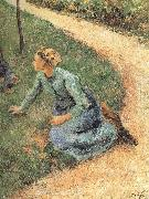 Peasant woman sitting on the side of the road Camille Pissarro