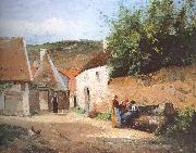 Chat village woman Camille Pissarro