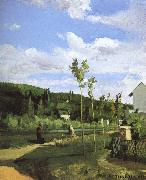 Walking along the village Camille Pissarro
