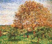 Red sky under the apple tree Camille Pissarro