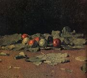 Apple still life and leaves Ilia Efimovich Repin