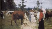 Girls and cows Ilia Efimovich Repin