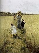 In the field of small road Ilia Efimovich Repin