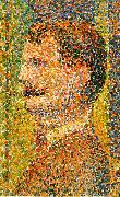 Detail from La Parade  showing pointillism Georges Seurat