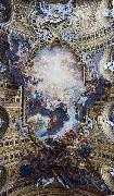 The Worship of the Holy Name of Jesus, with Gianlorenzo Bernini, on the ceiling of the nave of the Church of the Jesus in Rome. Giovanni Battista Gaulli Called Baccicio