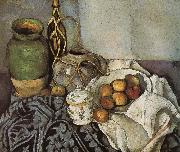 bottle of still life of fruit Paul Cezanne