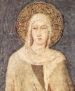 detail depicting Saint Clare of Assisi from a fresco  in the Lower basilica of San Francesco Simone Martini