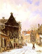 A Village Street Scene in Winter Adrianus Eversen