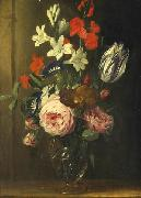 Flower still life in a glass vase Jan van den Hecke