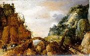 mountainous landscape with horsemen and travellers crossing a bridge. Joos de Momper