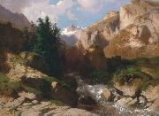 Mountain Torrent oil on canvas painting by Alexandre Calame, about 1850-60 Alexandre Calame