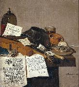 Still life with a copy of De Waere Mercurius, a broadsheet with the news of Tromp's victory over three English ships on 28 June 1639, and a poem telli Anthonie Leemans