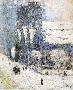 Painting, oil on canvas, of Calvary Church Childe Hassam