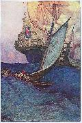 An Attack on a Galleon: illustration of pirates approaching a ship Howard Pyle