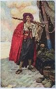 The Buccaneer was a Picturesque Fellow: illustration of a pirate, dressed to the nines in piracy attire. Howard Pyle