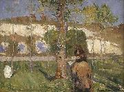 Madame Sisley on the banks of the Loing at Moret John Peter Russell