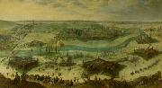 A siege of a city, thought to be the siege of Gulik by the Spanish under the command of Hendrik van den Bergh, 5 September 1621-3 February 1622. Peter Snayers
