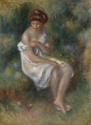 Seated Girl in Landscape renoir