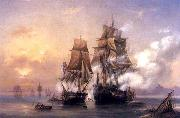 Capturing of Swedish 44-gun frigate Venus by Russian 22-gun cutter Merkuriy of June 1, 1789. Alexey Bogolyubov
