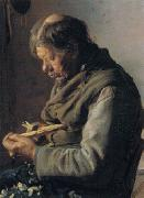 Fisherman Lars Gaihede carving a stick Anna Ancher