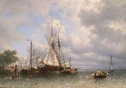 Sailing ships in the harbor Antonie Waldorp