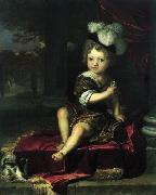 Portrait of a child with a tit Carel de Moor