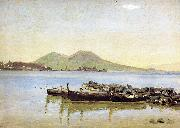 The Bay of Naples with Vesuvius in the Background Christen Kobke